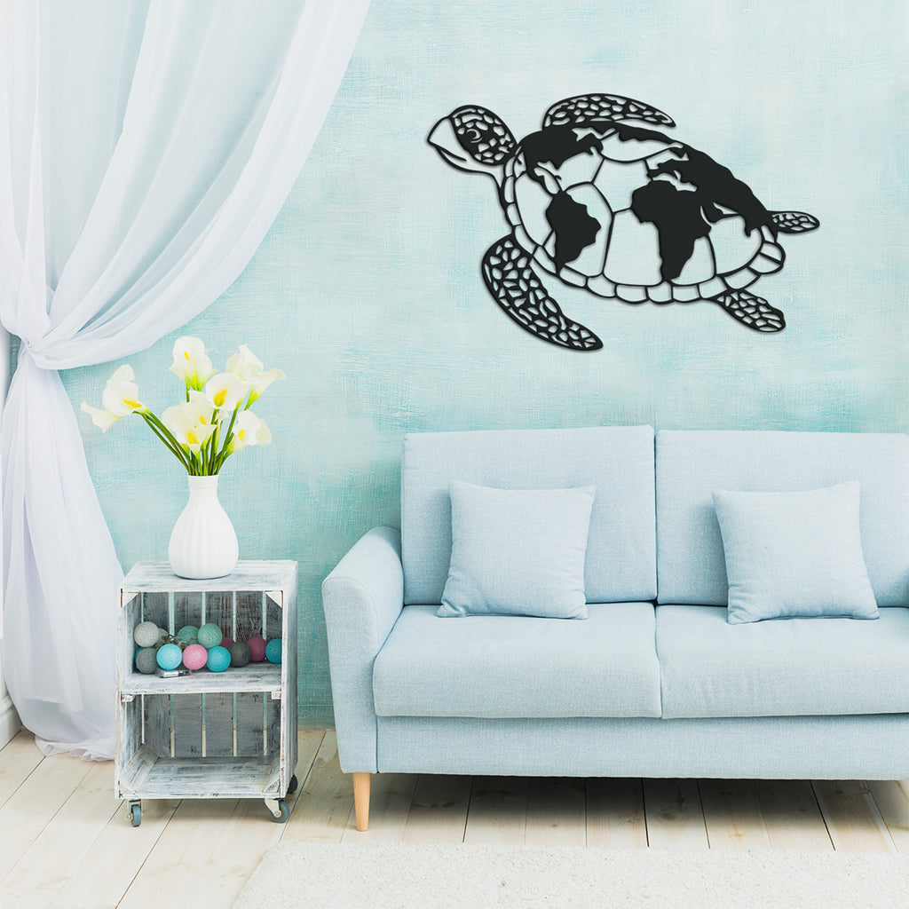Sea Turtle World Map - Metal Wall Art