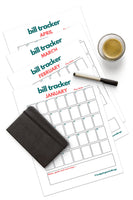 Bill Tracker Calendar 12 Months (Printable)