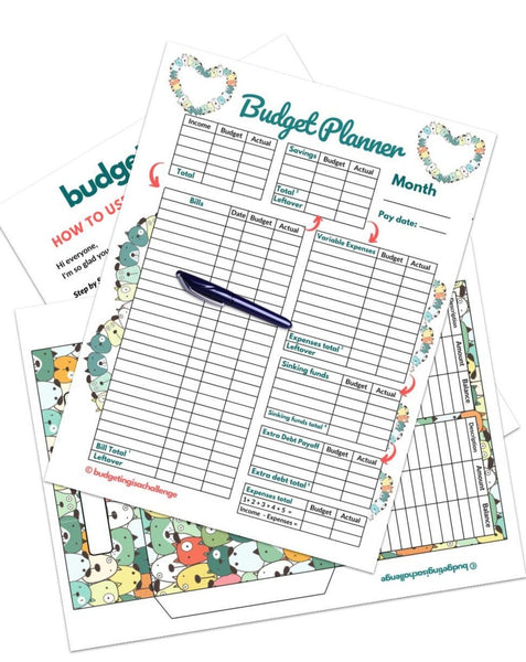 Using a budget sheet every month can save you money, help you save more and get out of debt quicker! Download my cute dogs budget planner today. Start your journey!