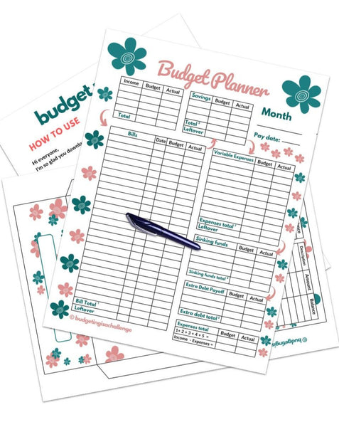 Flower budget sheet with cash envelope. Save more cash, pay off more debt and achieve your goals!