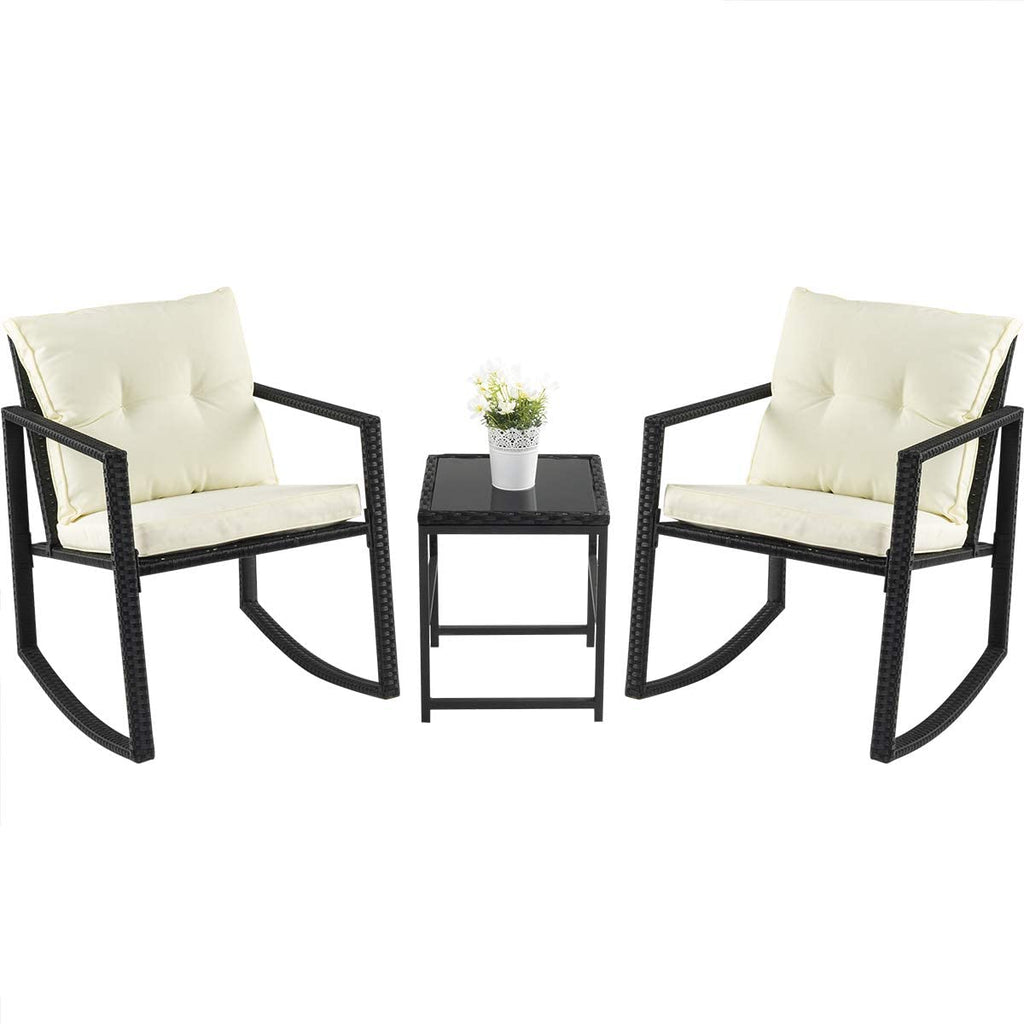 PAMAPIC Outdoor 3 Piece Porch Furniture Rocking Bistro Set, Wicker Black Patio Furniture Sets -Two Chairs with Glass Coffee Table