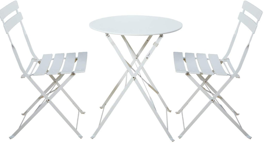 Grand patio Premium Steel Patio Bistro Set, Folding Outdoor Patio Furniture Sets, 3 Piece Patio Set of Foldable Patio Table and Chairs, White