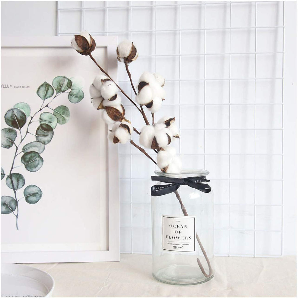 Naturally Dried Cotton Stems Farmhouse Artificial Flower Filler Floral Decor Fake Cotton Flower - home and decor-oosmdeals