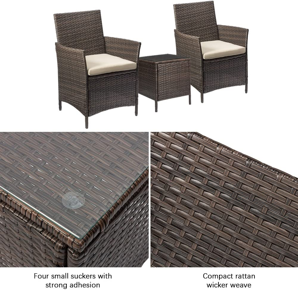 Devoko Patio Porch Furniture Sets 3 Pieces PE Rattan Wicker Chairs with Table Outdoor Garden Furniture Sets (Brown/Beige)