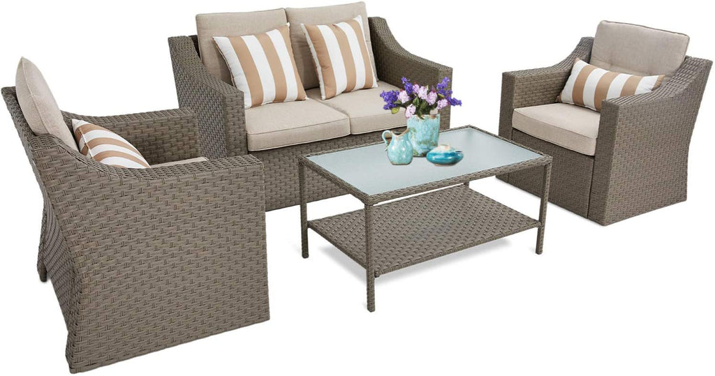 SUNCROWN 4 Piece Outdoor Patio Furniture Conversation Set Rattan Wicker Chairs with Glass Top Table All-Weather and Thick Cushion Covers(Grey) - home and decor