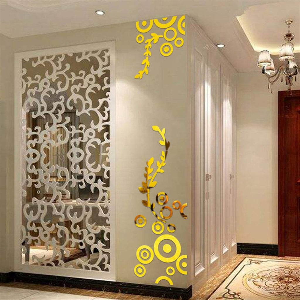 3D Wall Sticker black gold silver waterproof Creative Circle Ring Acrylic Mirror - wall art