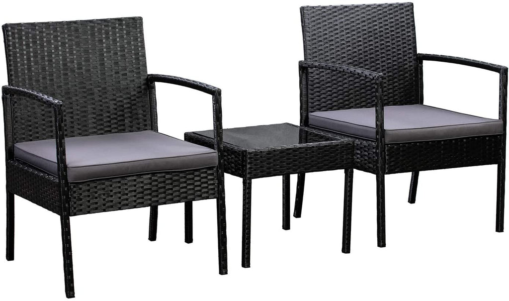 AmazonBasics Outdoor Patio Garden Faux Wicker Rattan Chair Conversation Set with Cushion - 3-Piece Set, Black