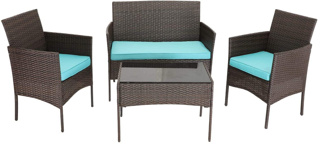 HTTH 4 Pieces Patio Porch Furniture Sets PE Rattan Wicker Chairs Washable Cushion with Tempered Glass Tabletop Porch Furniture (Turquoise)