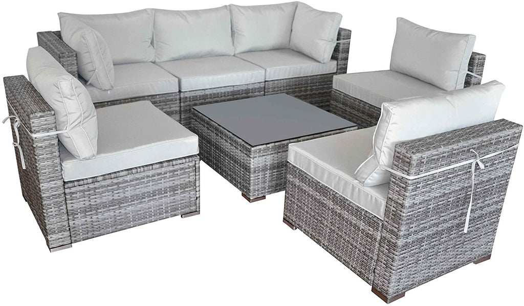 SUNVIVI OUTDOOR 7 Piece Outdoor Patio Furniture Sets, All Weather Grey PE Wicker Furniture Set, Patio Sectional Conversation Sofa Set with Coffee Table, Removable Warm Grey Cushions