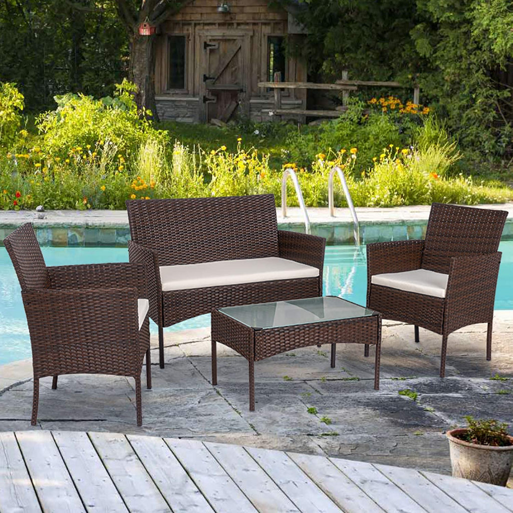 Shintenchi 4 Piece Outdoor Patio Furniture Sets- home and decor
