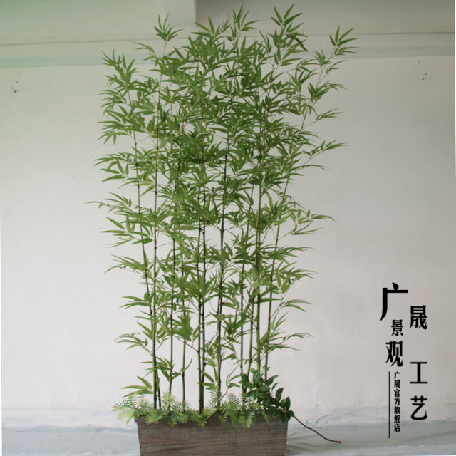 Customized Fake Green Bamboo Poles Plastic Leaves Artificial Plants for garden - home and decor-oosmdeals
