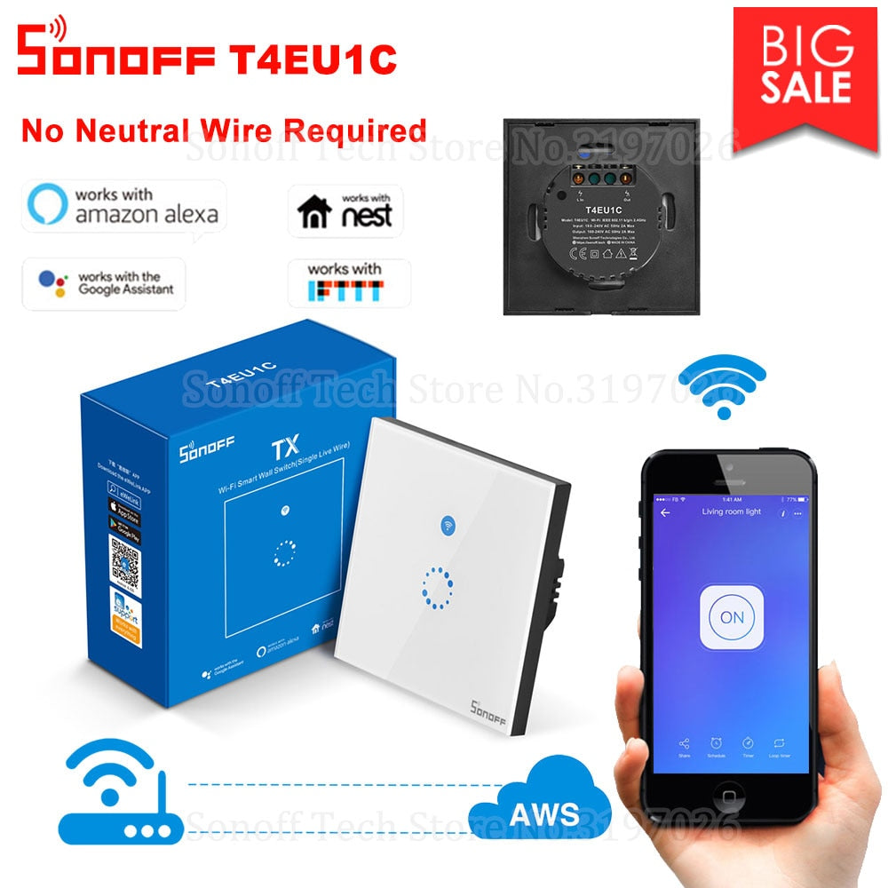 Itead Sonoff T4EU1C Wall Wifi Smart Touch Switch No Neutral Wire Required Operate via eWeLink Support Alexa Google Home - home decor Online store