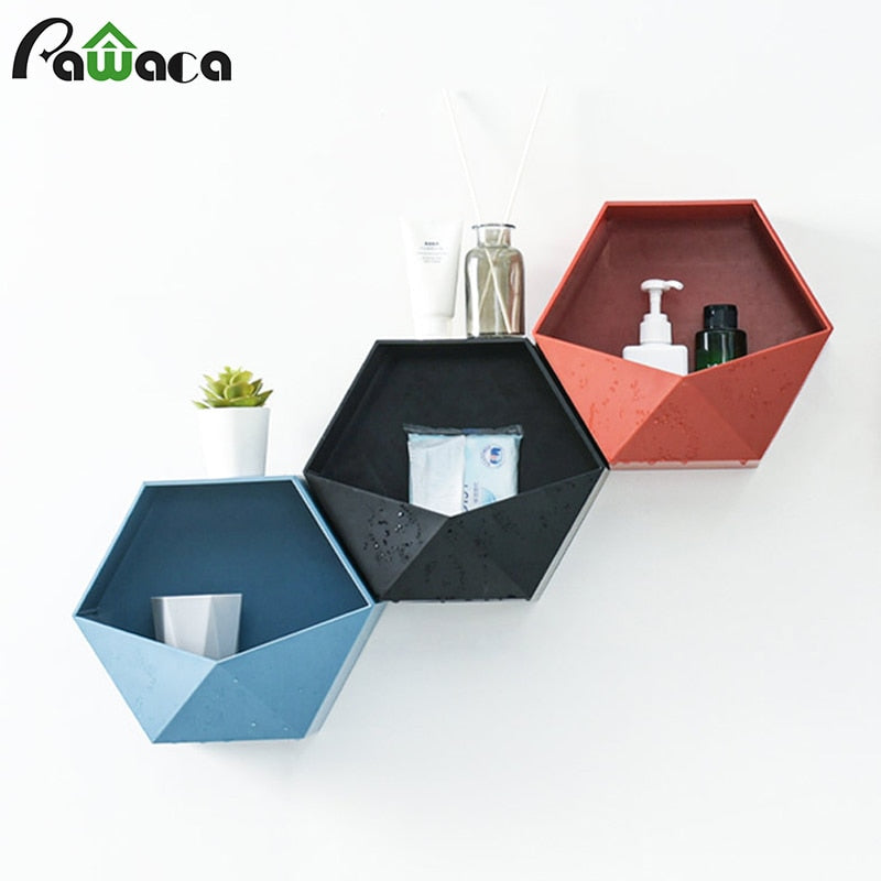 Nordic Style Geometric Hexagon Storage Rack Wall Mount Floating Shelf Display Flower Pot Holder - wall art