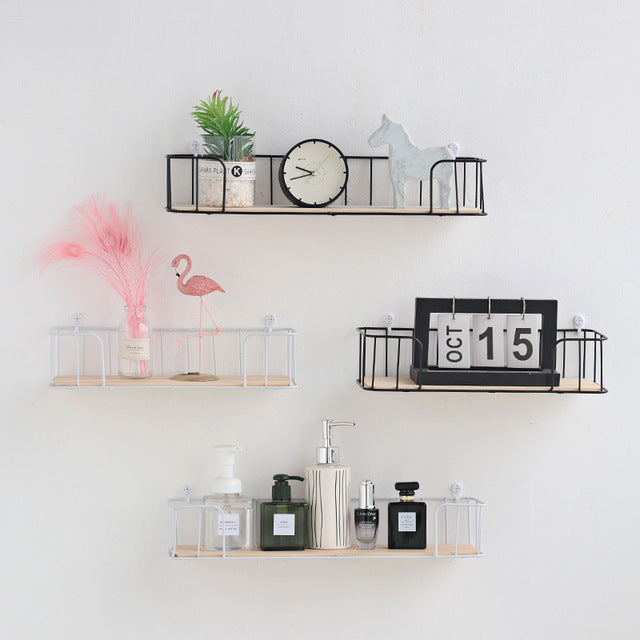 Decorative iron wooden Storage Rack Wall Shelves Garage Kit storage rack Room decoration stacks Ornaments floating shelves