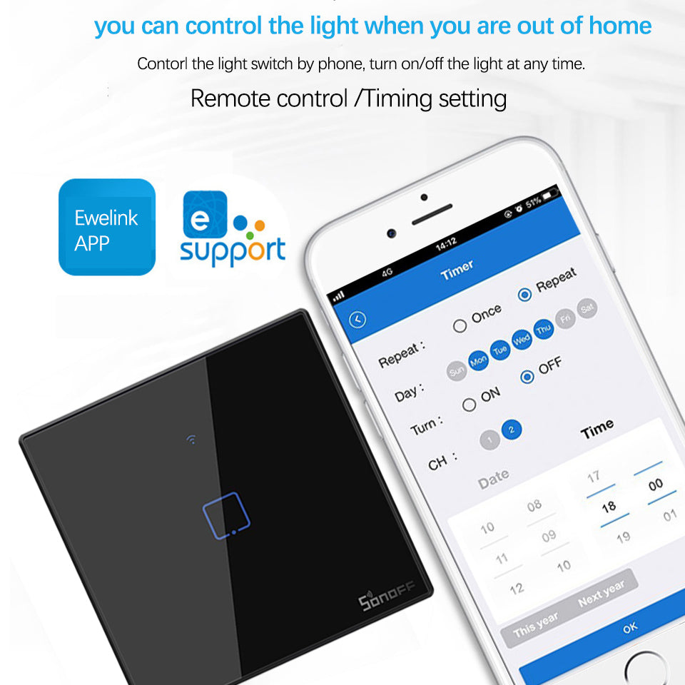 Sonoff T3 EU black Smart Wifi Wall Touch Switch 1 2 3 Gang 433 RF switch remote controller Support Alexa Google home smart home