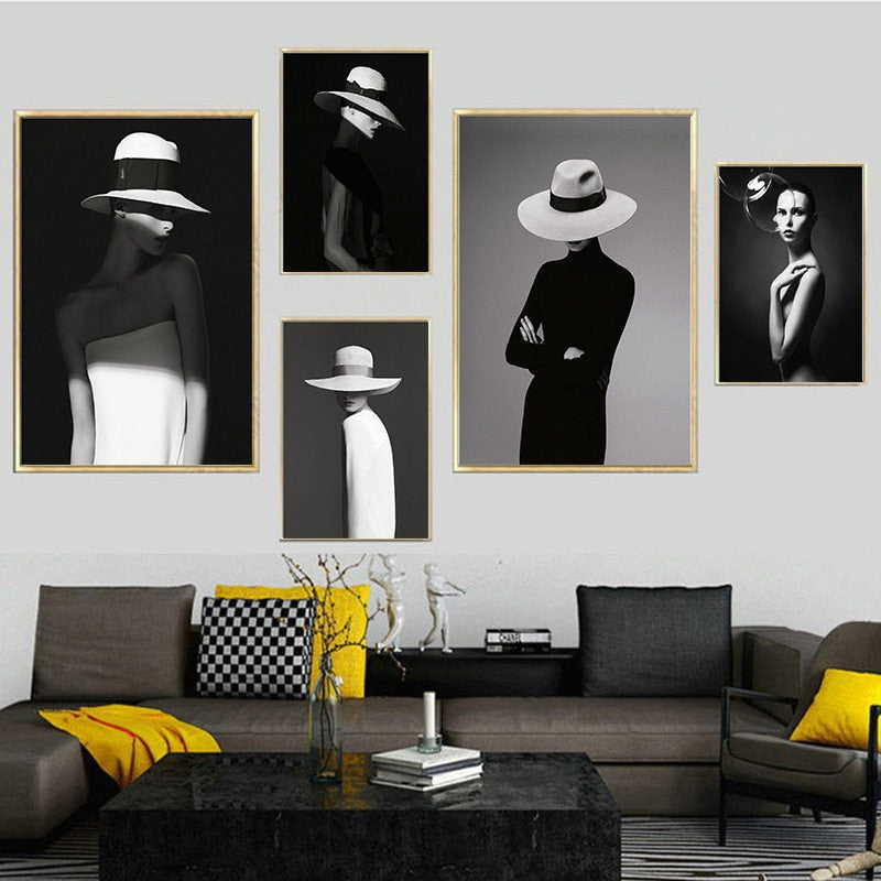 Modern Figure Posters Home Decor Nordic Canvas Painting Wall Art Picture Girl Lady Black and White Decor Prints for Living Room - wall art