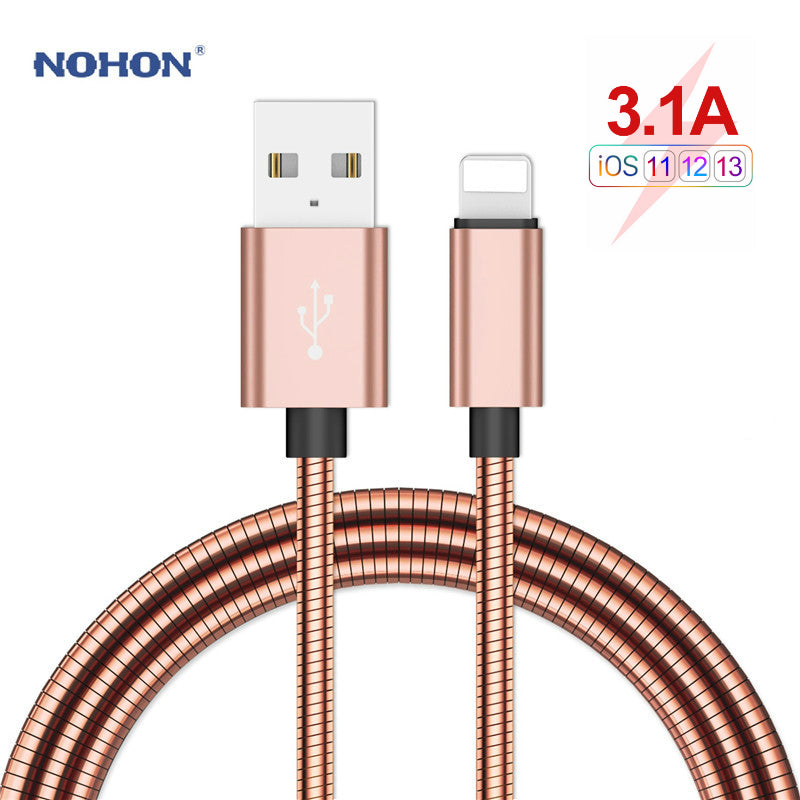 NOHON Type C USB Cable lightning Fast Charging Cable for iPhone XR X XS MAX Micro Phone Charger Stainless Steel Metal Data Cord - home decor Online store