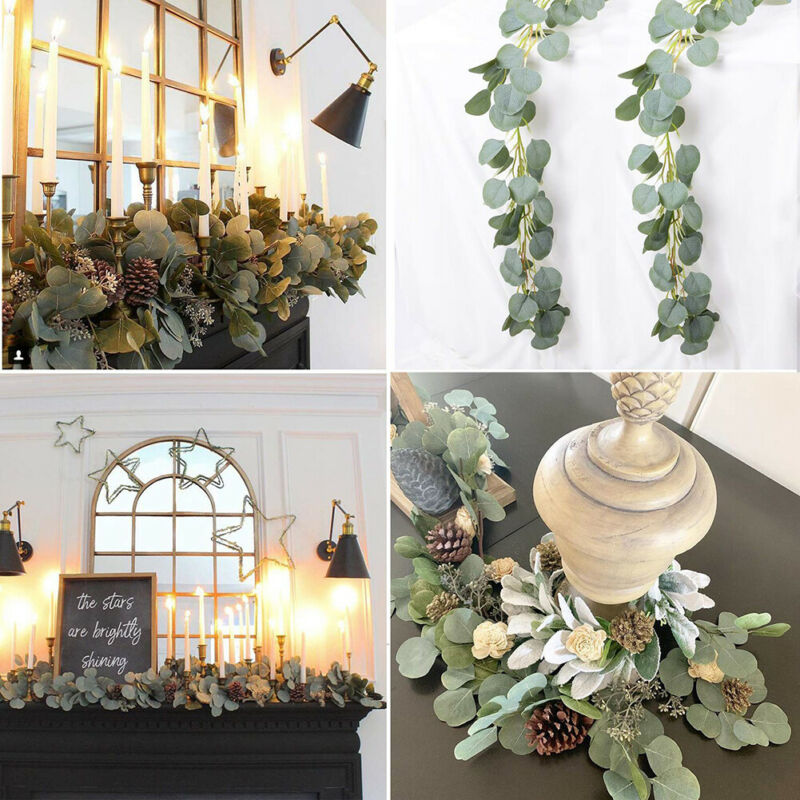 Hot 2M Silk Artificial Eucalyptus Round Leaf Garland Plants Vine Fake Foliage Flowers - home and decor