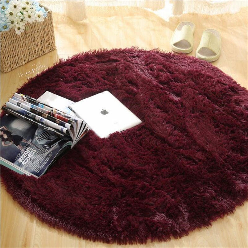 Fluffy Round Rug Carpets for Living Room Decor Faux Fur Rugs Kids Room - home and decor