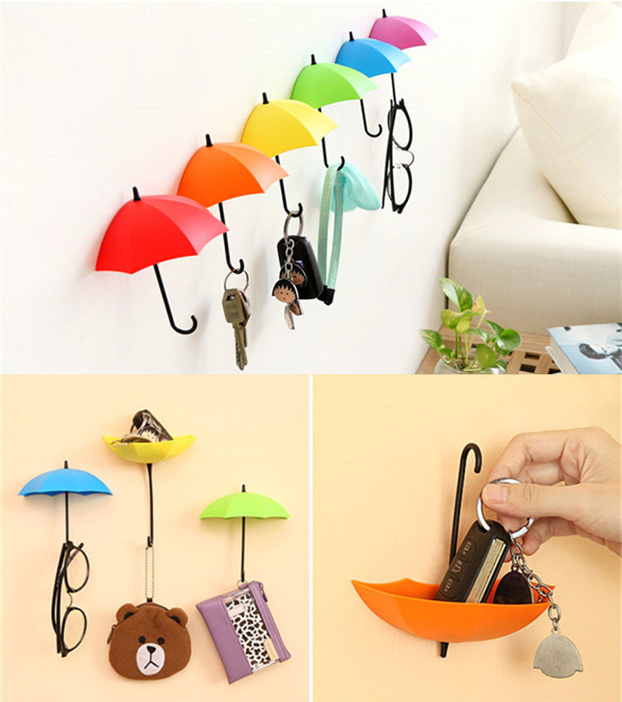 Umbrella shape sticker wall hook creative hook cute bag key holder bathroom wedding kitchen christmas home decoration-oosmdeals