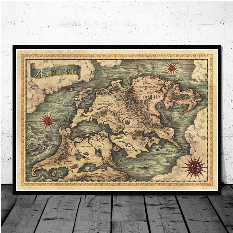Canvas Painting Posters And Prints Wall Art Picture Made In Abyss Map Anime Movie Vintage Poster - wall art-oosmdeals