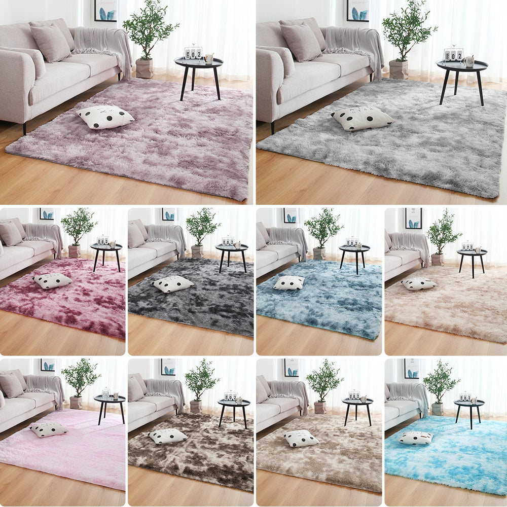 Multisize Bedroom Water Absorption Carpet Rugs For Living Room Bedroom Carpet Tie Dyeing Plush Soft Carpets Anti-slip Floor Mats