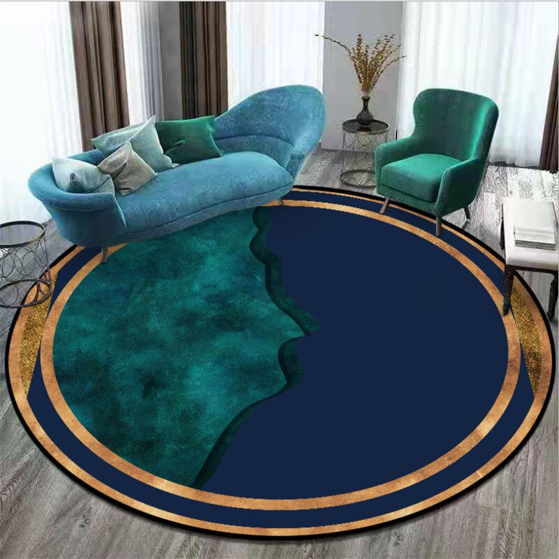 Area Rug for Living Room Dark Blue Dark Green Mosaic Pattern Round Carpet Area Rug for Bedroom Christmas Rug 100% Polyester - home and decor