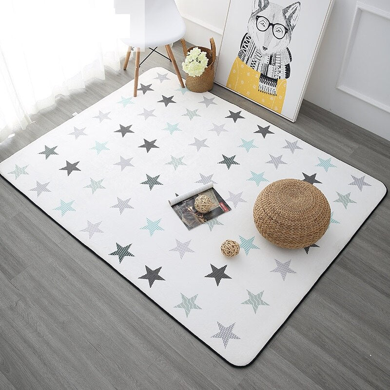 Korean Design Star Printed Carpet Anti-Slip Floor Rug Bath Mat Soft Baby Playing Carpets - home and decor-oosmdeals