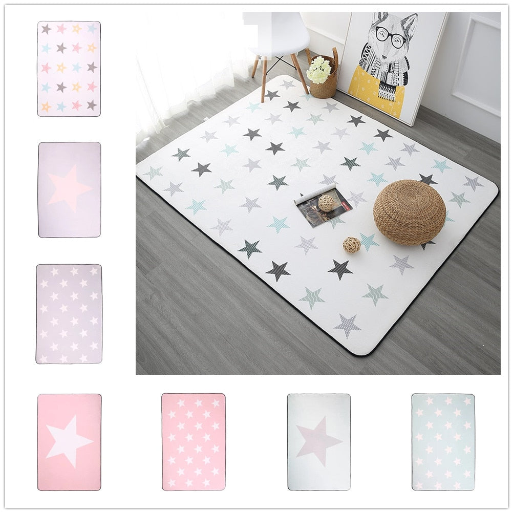 Korean Design Star Printed Carpet Anti-Slip Floor Rug Bath Mat Soft Baby Playing Carpets - home and decor