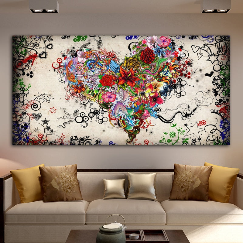 Hearts Flowers Painting Abstract Art Canvas Painting Wall Art For Living Room Bedroom Modern Decorative Pictures Home Decoration