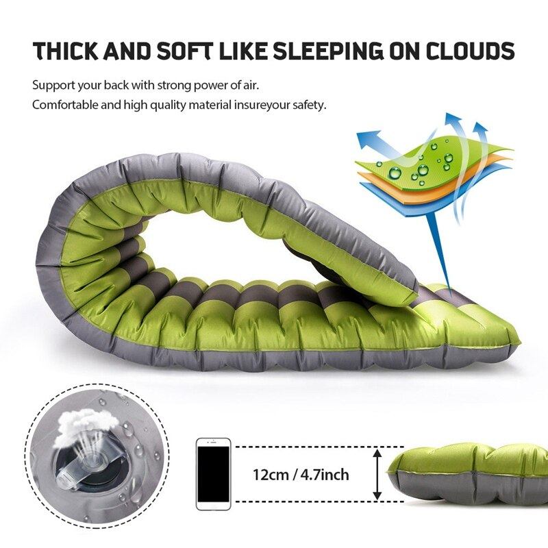 New Self Inflating Camping Airbed Sleeping Pad Outdoor Mats Moistureproof Inflatable Air Mattress Swimming Pool Floating Pad