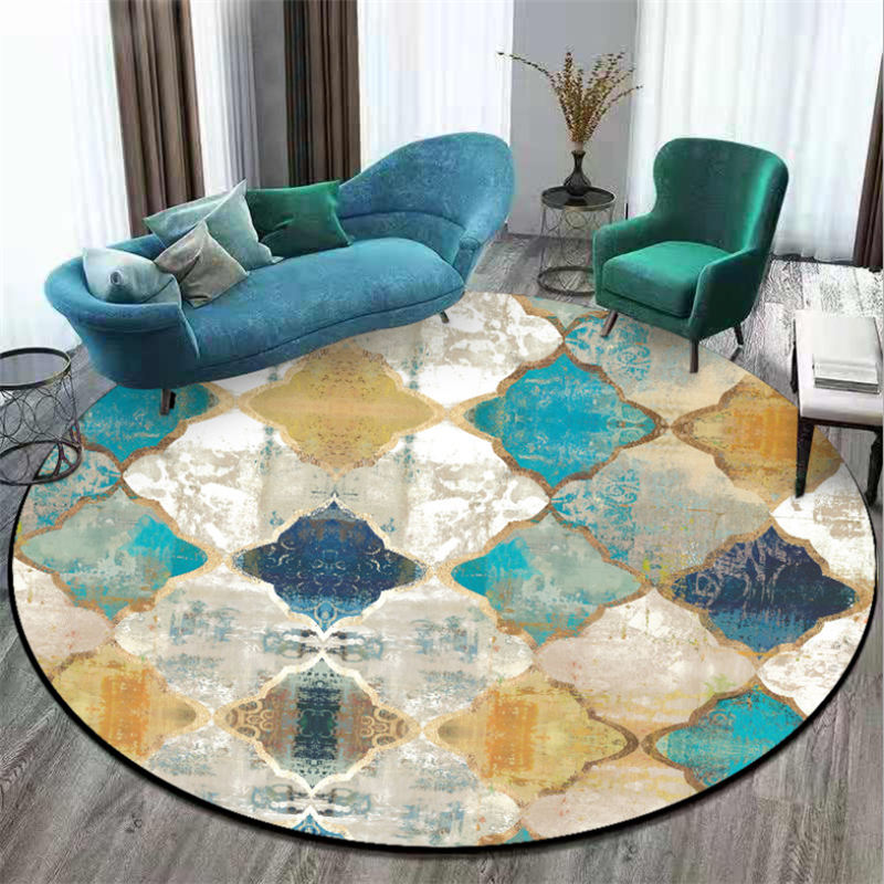 Area Rug for Living Room Vintage European Moroccan Style Round Carpet Carpet Kids Room Bedroom Rug Christmas Rug 100% Polyester - home and decor