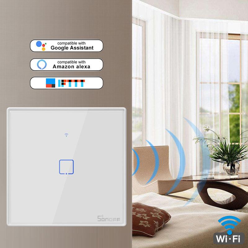 SONOFF T3 T2EU TX Smart Wifi Wall Touch Switch With Border Smart Home 1/2/3 Gang 433 RF/Voice/APP/Touch Control Work With Alexa