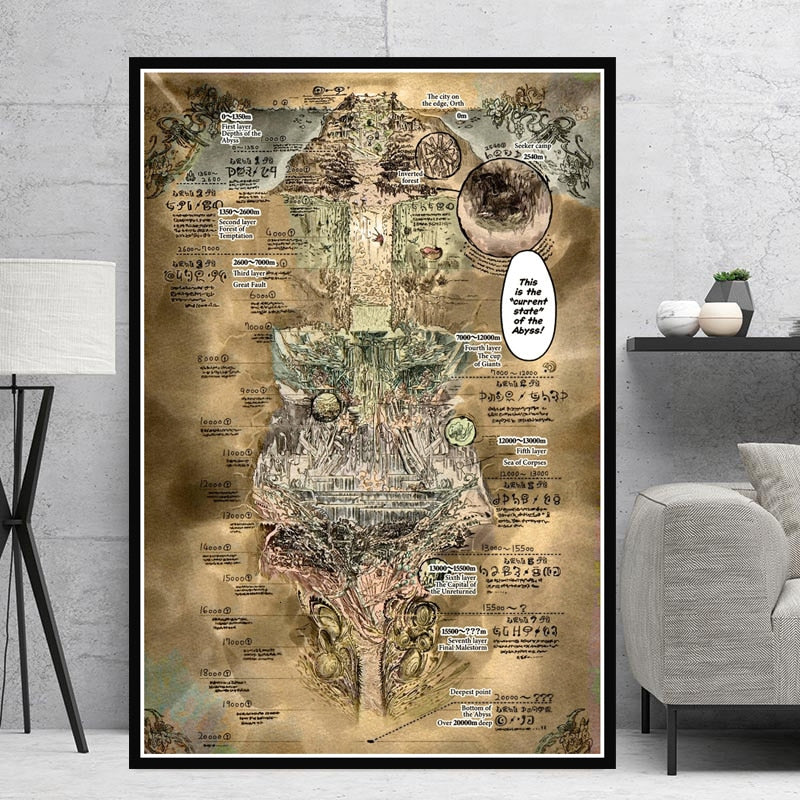 Canvas Painting Posters And Prints Wall Art Picture Made In Abyss Map Anime Movie Vintage Poster Decorative Home Decor Cuadros - wall art