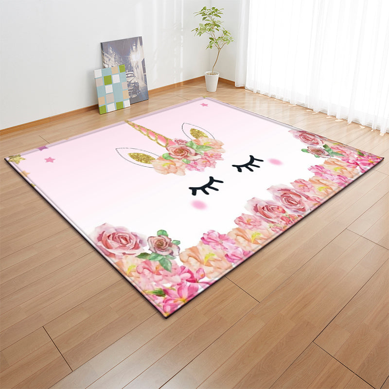 Cartoon Pink Unicorn Carpets Anti-slip Flannel Carpets Kids Play Mat Girls Room Decorative Area Rug Living Room Rug and Carpet - home and decor
