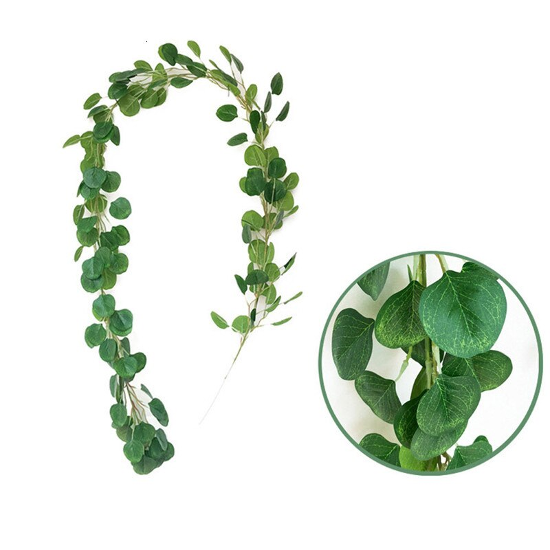 1pcs 2m Wedding Decoration Artificial Green Eucalyptus Vines Rattan Artificial Fake Plants Ivy Wreath Wall Decor Vertical Garden