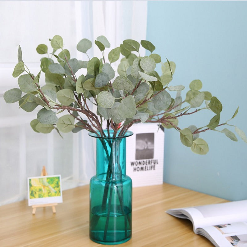 Artificial Silver Dollar Eucalyptus Leaf For Plastic Flowers Household Store Dest Rustic Decoration Clover Plant