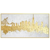 Golden abstract canvas painting home - wall art-oosmdeals
