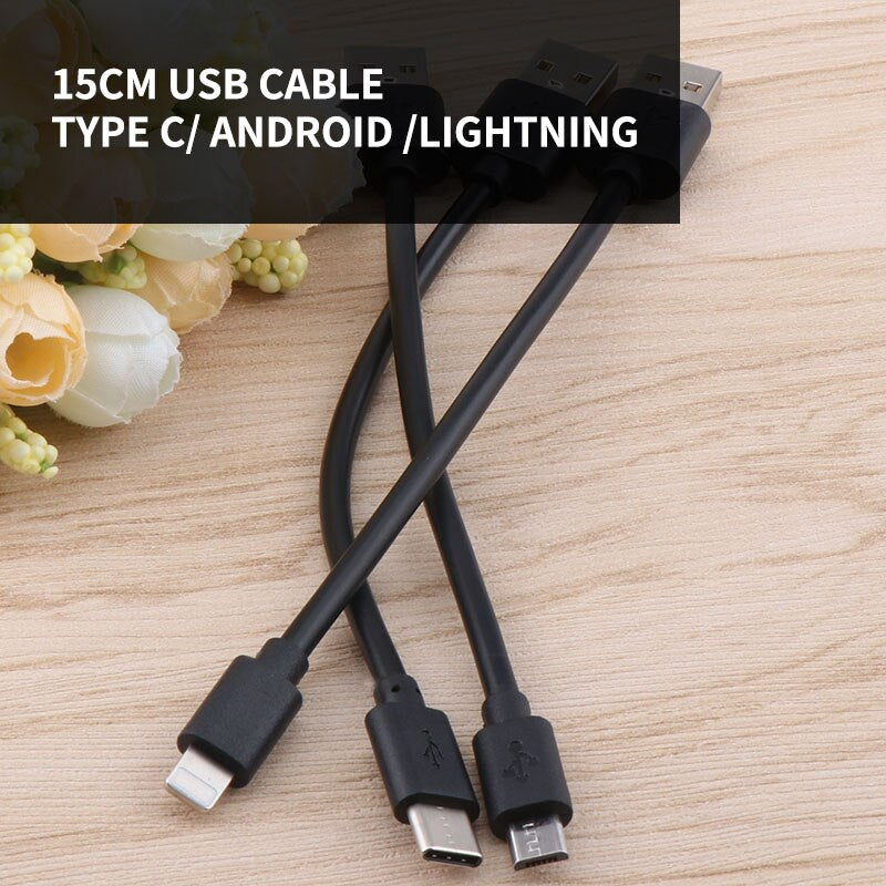 15cm Type c Fast Charging Cable  Micro USB/Type C/lightning Short Power Bank Cable for iPhone Samsung Xiaomi Huawei