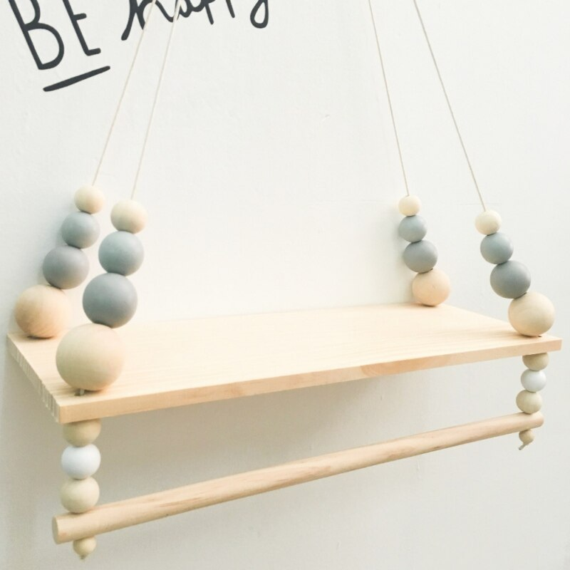 Nordic Style Wooden Beads Wall Hanging Shelf Swing Rope Floating Shelves Display Storage Rack Decor For Display Books H1 .x x