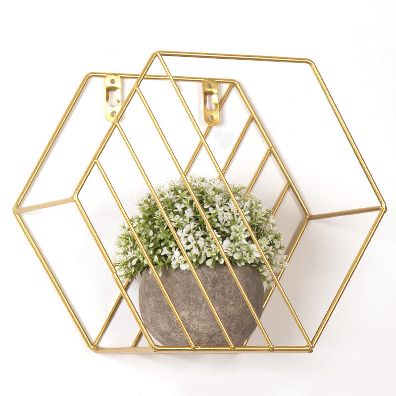 Iron Metal Grid Wall Decor Hexagon Shelf Wall Hanging Floating Shelves Geometric Figure Home Wall Decor Flower Pot Pictures Rack