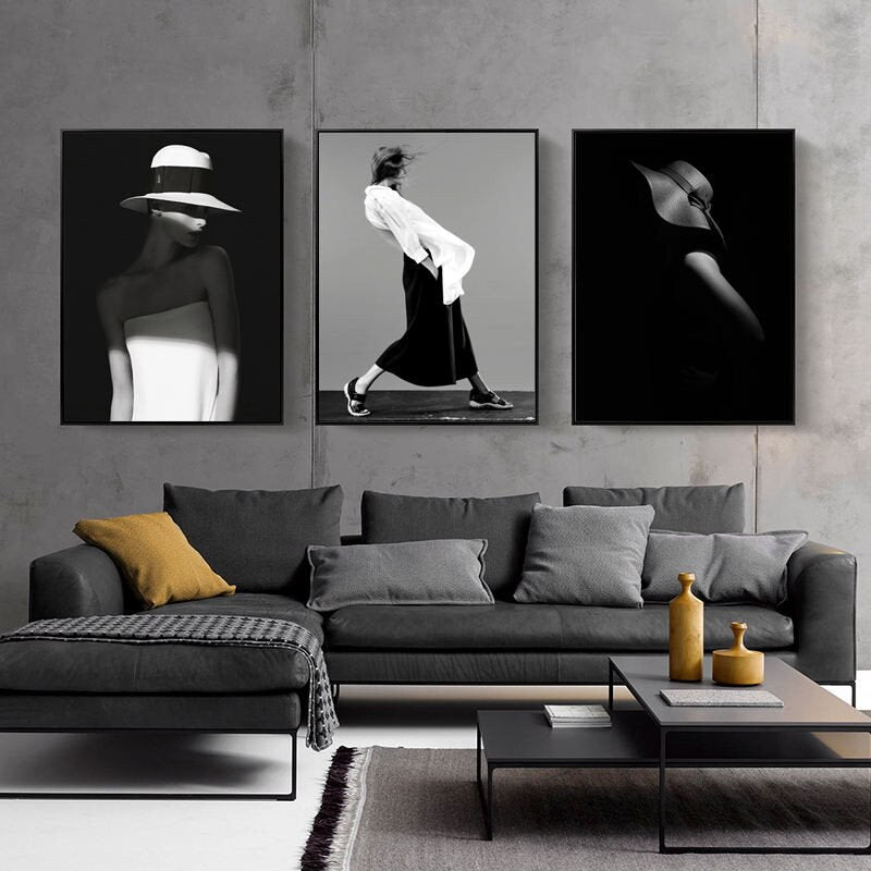 Modern Figure Posters Home Decor Nordic Canvas Painting Wall Art Picture Girl Lady Black and White Decor Prints for Living Room