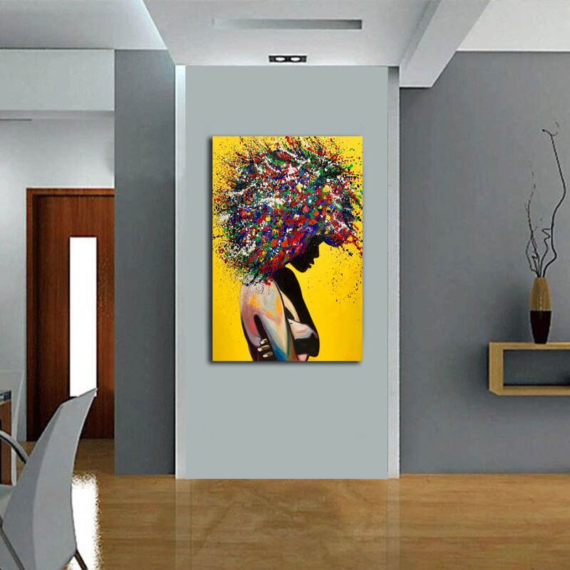 Modern Girl Portrait Canvas Printings Oil Painting Wall Art Poster Pictures for Office Living Room Home Decoration