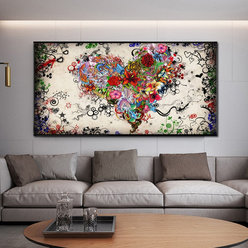 Modern Canvas Painting Abstract Colorful Heart Flowers Posters and Prints - wall art