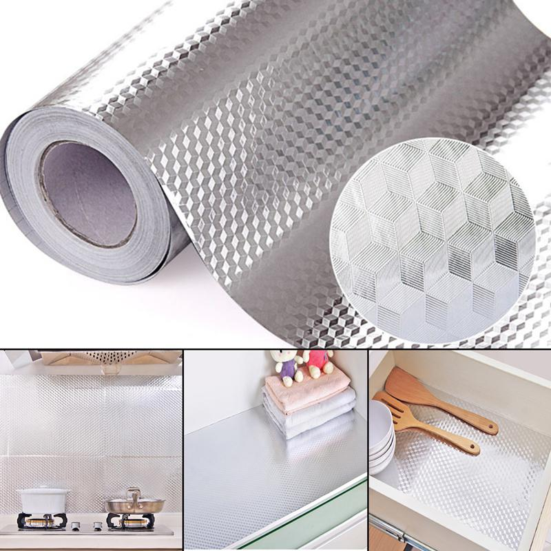 40X100CM Aluminum Foil Self Adhesive Oil-proof Waterproof Wallpaper - home and decor