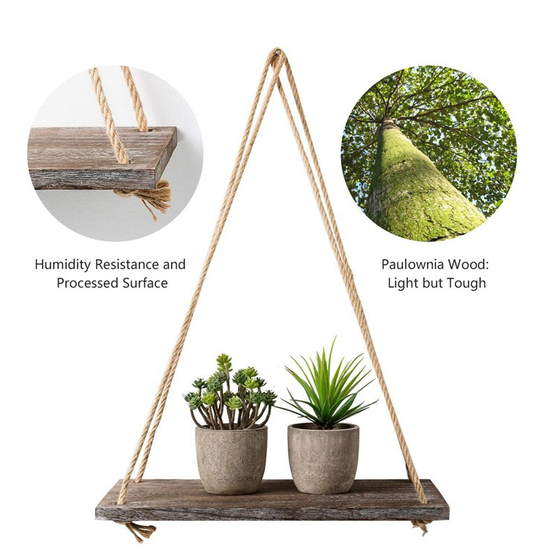 1 2 3 Tier Rustic Wooden Hanging Rope Shelf-Handmade Solid Wood Floating Shelves Home Decorative Wall Mounted Rack YYY8112