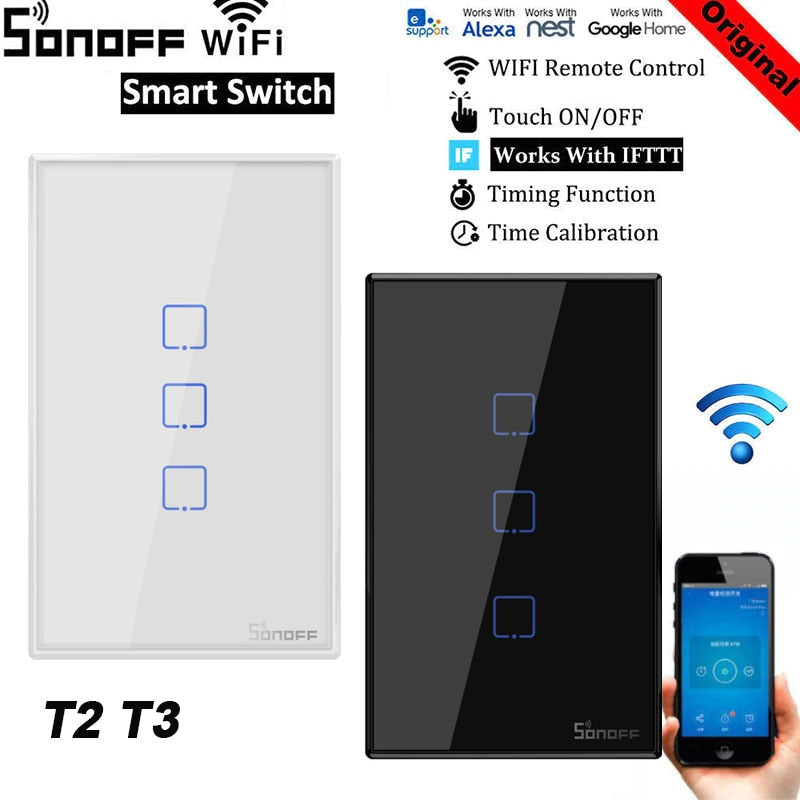 Sonoff T1 T2 T3 Work with Google Home Alexa US Smart Home WiFi RF Remote Controller - home decor Online store