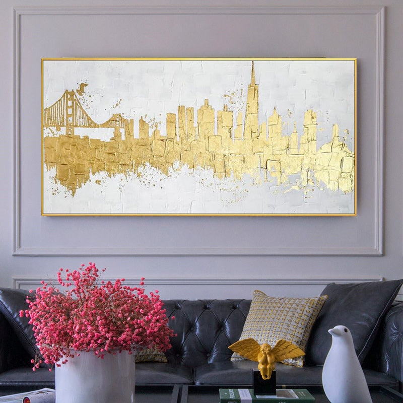 Golden abstract canvas painting home - wall art