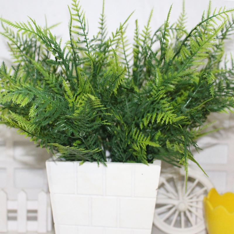 Creative Plastic Green Plants 7 Stems Artificial Fern Asparagus Grass Flower Bushes Home Office Deor Plant Decorative Fake Tree