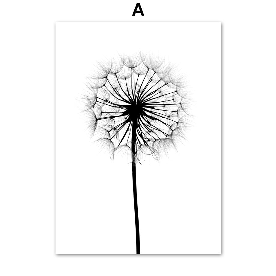 Reed Dandelion Feather Girl Wall Art Canvas Painting Nordic Posters And Prints Black White Wall Pictures - wall art-oosmdeals